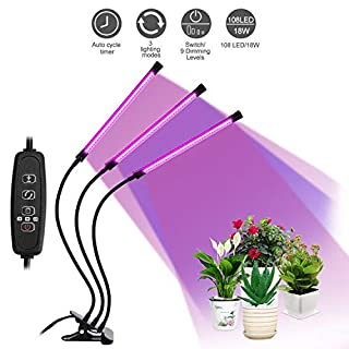 LEBANDWIT LED Plant Grow Lights for Indoor Plants, Auto on/Off Full Spectrum with 3 Timer Setting 3H / 9H / 12H 3 Lighting Modes 9 Dimmable Brightness, 108 LEDs UV Growth Lamp (3 Head 27W)