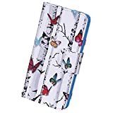 Herbests Kompatibel mit Huawei P20 Lite 2019 Handyhülle Handytasche Bunt Retro Muster Brieftasche Leder Hülle Leder Tasche Flip Case Cover Klapphülle Wallet Schutzhülle,Schmetterling Baum
