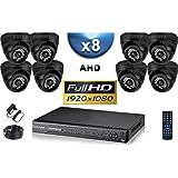 KIT PRO AHD 8 Caméras Dômes IR 20m SONY FULL HD 1080P + Enregistreur DVR AHD FULL HD 3000 Go / Pack de vidéo surveillance - vidéo surveillance