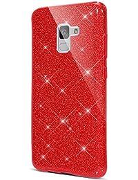 Surakey Funda para Samsung Galaxy A8 2018 Crystal Glitter Protección TPU Flexible Y Ligero Purpurina Brillante Carcasa Resistente de Gel Silicona con Brillo para Samsung Galaxy A8 2018,Rojo