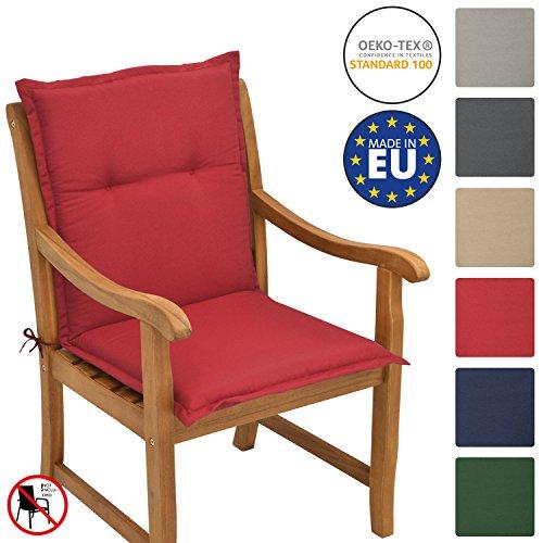 Beautissu Cuscino per sedie da Giardino e spiaggine Loft NL - 100x50x6cm -soffice Imbottitura e Comfort Extra - Rosso