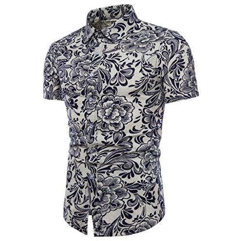 cfe028b6f TUDUZ Men's Shirts, Mens Funky Printed Linen Shirt Short Sleeve Fancy  Unique Floral Pattern Business
