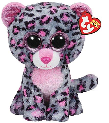 "Beanie Boo Leopard - Tasha - Grey/Pink - 15cm 6"""