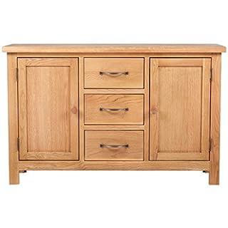 Anself Oak Large Sideboard Cabinet 3 Drawers 2 Cupboards 110 x 33.5 x 70 cm