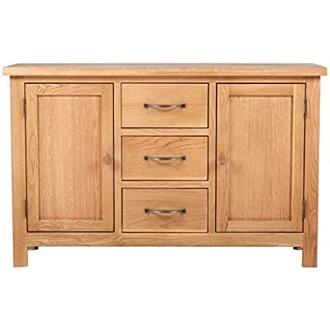 Anself Oak Large Sideboard Cabinet with 3 Drawers 2 Cupboards 110 x 33.5 x 70 cm