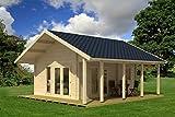 Ferienhaus F2 inkl. Fußboden - 70 mm Blockbohlenhaus, Grundfläche: 24,00 m², Satteldach