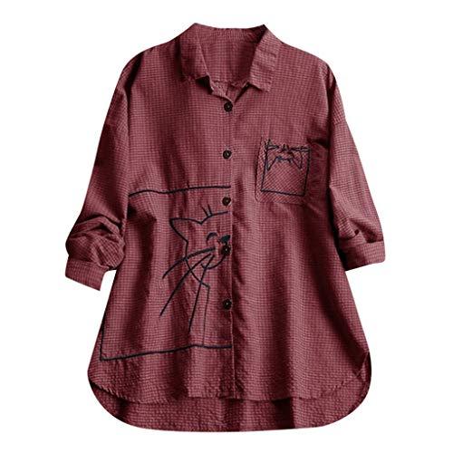 Andouy Damen Hemd Top Kariertes Langarm Leinen Plus Size Gr.38-46 Tunika Knopf Lose Bluse Übergroß(5XL(54).Wein-Stickerei)