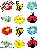 Vorgeschnittenes Esspapier/essbares Reispapier Formen: süße Biene, Marienkäfer, Schmetterling & Blumen Tasse Kuchen Topper Party Geburtstag Kinder Dekoration