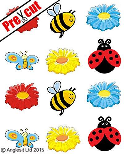 papier/essbares Reispapier Formen: süße Biene, Marienkäfer, Schmetterling & Blumen Tasse Kuchen Topper Party Geburtstag Kinder Dekoration ()