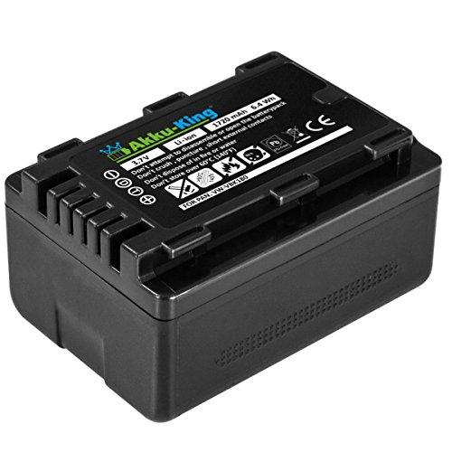 Akku-King Akku für Panasonic HC-V10, HC-V100, HC-V500, HC-V700, HDC-H80, HDC-SD40, HDC-SD60, HDC-SD90 - ersetzt VW-VBK180, VBK180-K - Li-Ion 1720mAh - mit Info-Chip V500-camcorder-batterie