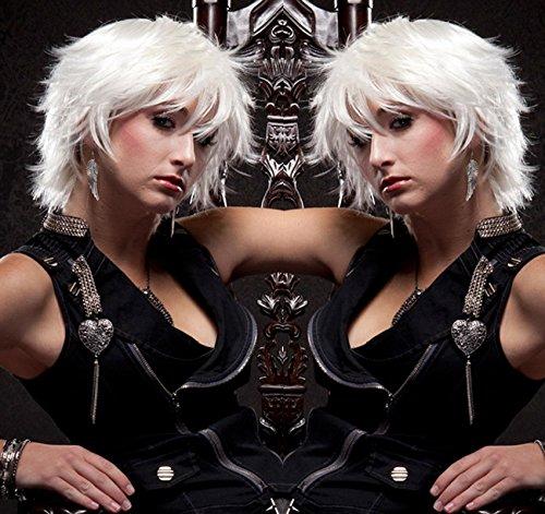 FYN Wig Hair Perücken, Halloween Wig Cospaly Perücken, Natürliche Wasser Wellen, Weißer, Atmungsaktiver Komfort, Stilvolle Sexy Ladies Frisuren, Trendige Moderne Perücken.