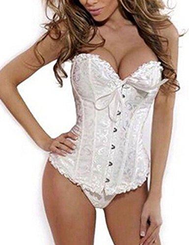 Beauty-You Damen Gothic Korsett Braut Corsage Mieder Geschnürt Plus Size Bustier Weiß (Kostüme Size Weihnachten Plus Sexy)