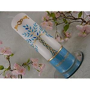 Hochzeitskerze Traukerze Lebensbaum blau gold 250/70 mm inkl. Beschriftung