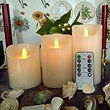 NuteDawn LED Kerzen mit Beweglicher Flamme - Echt Flammen Effekt LED Echtwachskerzen mit 10 Key Fernbedienung und Timer [Klassische Stumpenkerze, Elfenbeinfarbe] - 3er Pack (Warmweiß)
