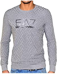 Ea7 - Pull Fin Col Rond - Homme - Train Core - Grey Melange Gris Clair Chiné