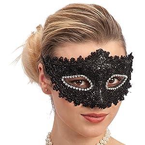 Carnival Toys - Máscara con encaje y estrases en bolsa con encabezado, color negro (745)