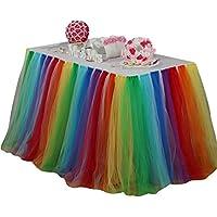 Ketamyy Europa Y América Color Del Arco Iris Fluffy Tutu Falda De Mesa Decoración De Cumpleaños De Princesa Arco Iris 100cm*80cm