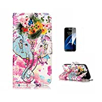 Galaxy S6 Edge Case,Galaxy G925 Cover [With Tempered Glass Screen Protector],Fatcatparadise(TM) Anti Scratch Flip Soft Silicone Back Cover Case ,Colorful Cute Pattern Design Flip Magnetic Premium PU Leather Credit Card Folio Holder Wallet Case For Samsung Galaxy S6 Edge/G925 (Elephant Flower)