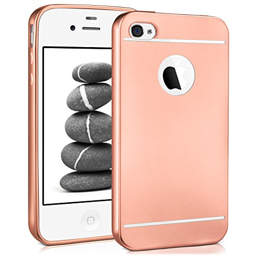 iPhone 4S Hülle Silikon Rose-Gold [OneFlow Smooth Back-Cover] Chrom Matt Silikonhülle Ultra-Slim Schutzhülle Metallic Handy-Hülle für iPhone 4/4S Case Dünn Iphone 4 Gold Case