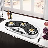 Hotsun Pearl Glass 3 Burner Oval Manual Gas Stove