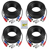 ANNKE 4 Pack 30M/100 Feet BNC Video Power Cable Security Camera Cable for CCTV Surveillance DVR System Installation, Free BNC RCA Connector Included