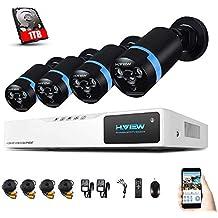 Sistema de Seguridad H.VIEW 1080P 8CH 4 Cámaras Kit de Vigilancia Seguridad para Hogar