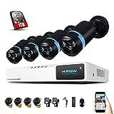 Sistema de Seguridad H.VIEW 1080P 8CH 4 Cámaras Kit de Vigilancia Seguridad para Hogar Grabador de Vídeo sin Disco Duro Visión Nocturna 30M 2 IR-Array LEDs (1TB HDD)