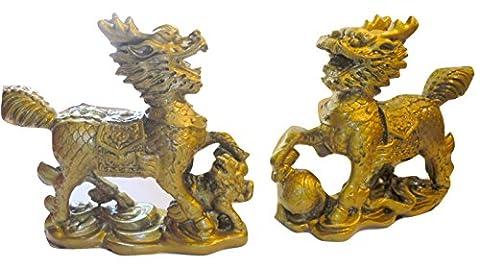 Paire de sculpture Forme dragon chinois Couleur bronze
