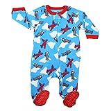 Elowel Baby Jungen Grobe 68-110 Einteiler Strampler Schlafanzug Schlafoverall Flugzeug Vlies 12-18 Monat