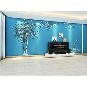 Asvert 3D Wandaufkleber Stereo Wandtattoo Wohnzimmer Schlafzimmer Kinderzimmer Sofa Möbel Hintergrund Sticker 1.58 * 3 Meter (XXL, Silber)