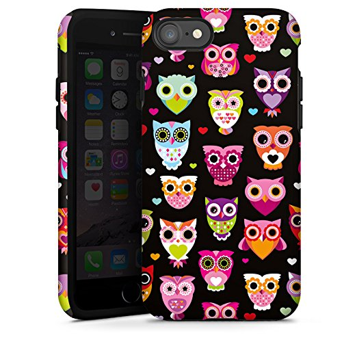 Apple iPhone 8 Hülle Case Handyhülle Eulen Owl Muster Bunt Tough Case glänzend