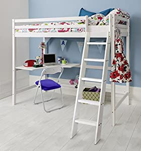 Cabin Bed High Sleeper with Desk in White, Bunk Bed Thomas Noa & Nani