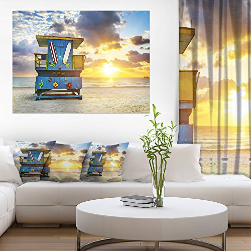 Art-design Miami South Beach Sunrise Wandbild auf Leinwand, groß 30'' H x 40'' W x 1'' D 1P blau