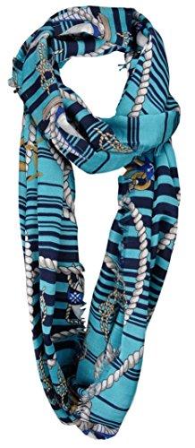 Symbol-schal (Damen Loop Schal türkis blau weiß mit Nautik Symbolen mit Fransen - Gr. 180 x 50 cm)