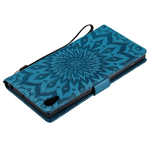 Embossing Sonnenblumenmuster horizontale Flip Stand Case Wallet Pouch Cover mit Lanyard für Sony Xperia XA1 ( Color : Gray ) Blue