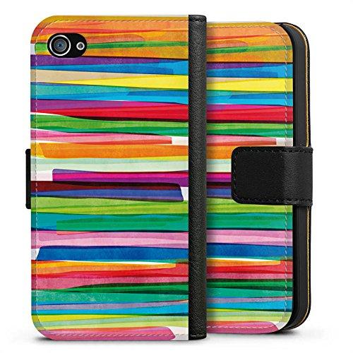 Apple iPhone 7 Tasche Hülle Flip Case Streifen Wasserfarbe Bunt Sideflip Tasche schwarz