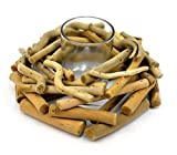 maDDma ® Dekorativer Teelichthalter Oceanwood 20cm mit Glaseinsatz, Treibholz Windlicht