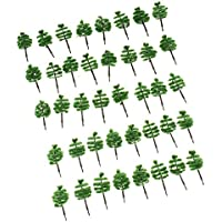 40pcs / Set Hierba Terciopelo 3mm Verde Oscuro Plástico Escala 1:250H=50MM