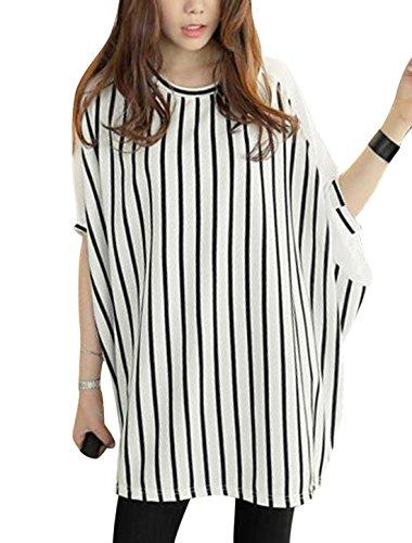 Sourcingmap Damen Rundhals Ellbogen Ärmel Chiffon Panel Streifen Lose Fit Tunika Tops, White/M (EU 40) (Stripe Sheer Shirt)