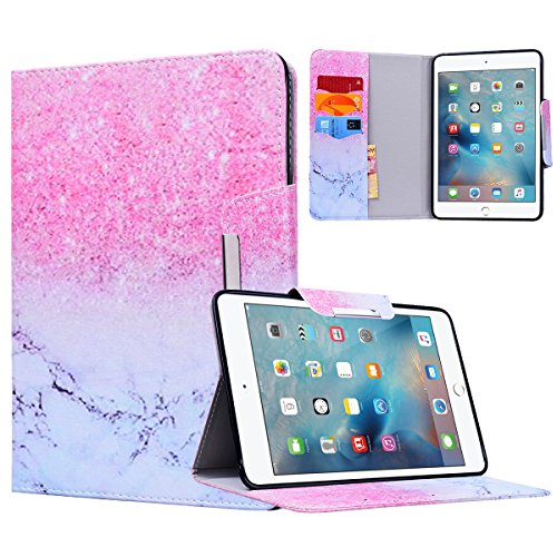 Yokata Apple iPad Mini 4 Hülle Case Schutzhülle Tasche mit Standfunktion und Auto Sleep / Wake Up Funktion Slim Ultra Dünn Hochwertiges PU Leder Etui Ledertasche für iPad Mini 4 (7,9 Zoll) Tablet Etui - Marmor und Sand