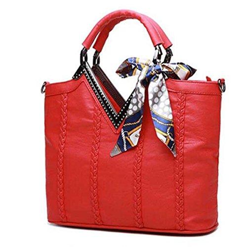 Frauen Großformatige Umhängetasche Diamant Tote Tasche Red