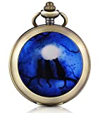 Infinito U Tres gatos en la luna Luz Foto medallón cuerda manual mecánica reloj de bolsillo Esfera Negra Esqueleto Reloj Jersey Collar, ambos Cadenas
