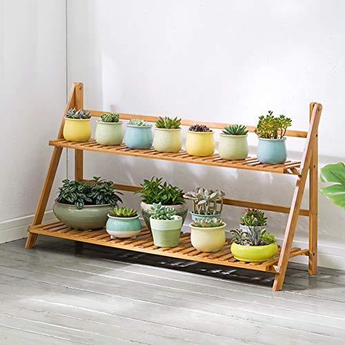 LLYU Jardin étagère support de fleurs bambou 2 couche échelle pliante bois balcon salon (taille : 100cm)