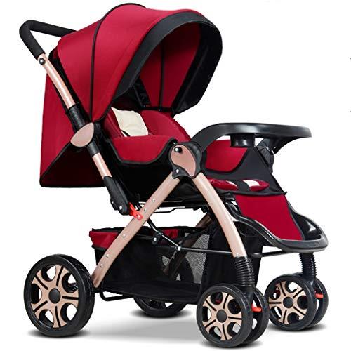 BLWX - Poussette bébé bidirectionnelle Peut s'asseoir inclinable Ultra léger Portable Pliable 0-3 Ans Enfant à Quatre Roues bébé Parapluie léger système de Voyage Poussette de Voiture Poussette