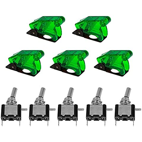 XCSOURCE 5pcs 12V SPST LED illuminato 20A 3 pin ON / OFF attuatore interruttore a levetta verde di copertura auto per TE457