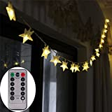 [Remote & Timer] Battery Operated Star LED String Fairy Lights 5 Meter 50 LED Fairy String Lights for Family Outdoor Camping Bivouac Outlie ,Barbecue Party -- Warm White