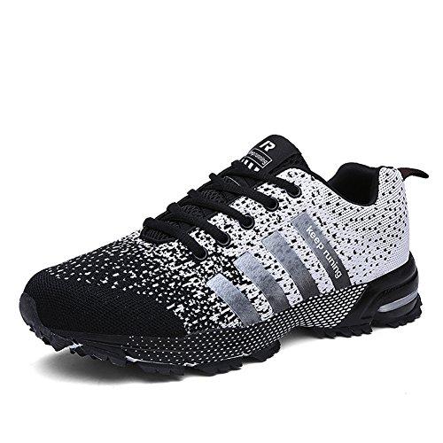 UBFEN Zapatillas de Running Padel para Hombres Zapatos Deportivas Gimnasio Correr Deportes de Exterior y Interior Fitness Casual Sneakers Mujer EU 43 J Negro