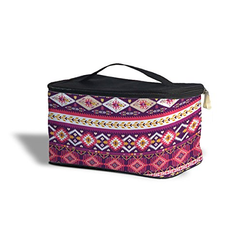 Girly Motif Aztec Tribal Geometric Cosmetics Storage Case de trousse maquillage cosmétique org aniser, Polyester, Yellow, One Size Cosmetics Storage Case