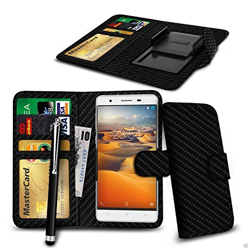 "Price comparison product image N4U Online® - Clip On PU Leather Wallet Case Cover & Pen For Aldi Medion Life E5005 5"" - Carbon Fibre"