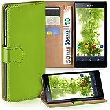 OneFlow Tasche für Sony Xperia Z Hülle Cover mit Kartenfächern | Flip Case Etui Handyhülle zum Aufklappen | Handytasche Schutzhülle Zubehör Handy Schutz Bumper in Hellgrün